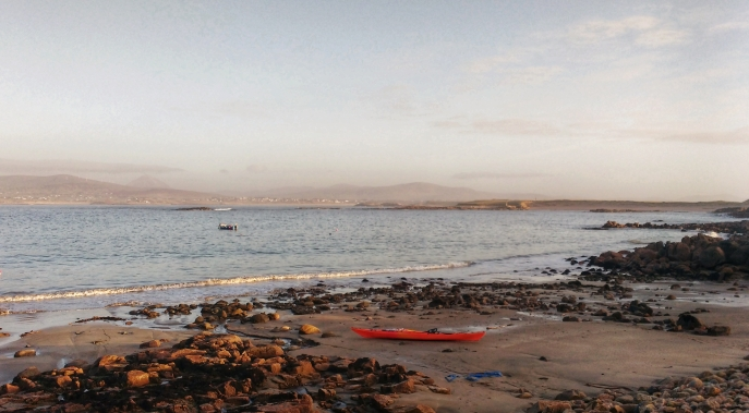 kayak on the rocky/sandy beach Gola Island Donegal